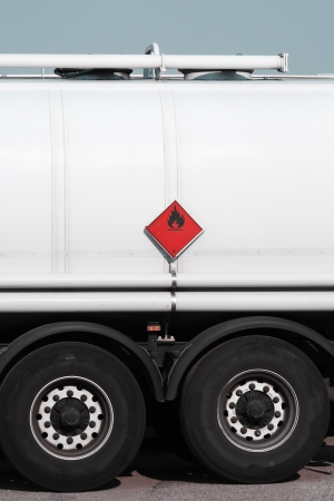 flammable: tanker truck with flammable warning sign