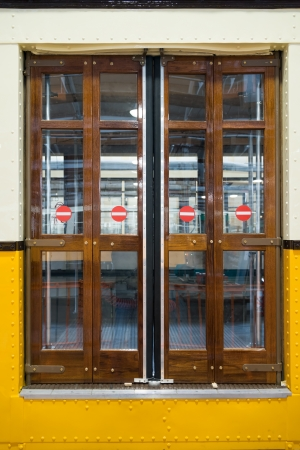 closed sliding door of classic tram in Milan photo