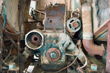 dirty car: very dirty and rusty old diesel engine