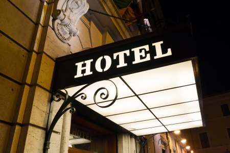 hotel sign on entrance at night Stock Photo - 17612511