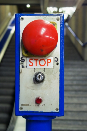 Emergency stop button on vintage controller in underground station photo