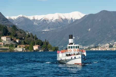 lake como: ferry in Cernobbio on Como lake, Italy