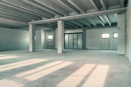 Empty warehouse wall or commercial area, industrial background photo