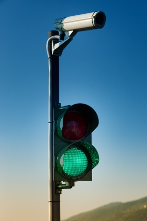 traffic light and security camera on the street Stock Photo - 21193180