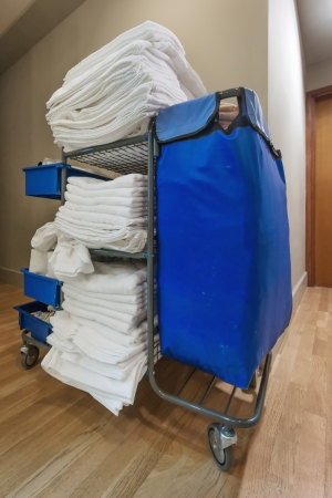 hostel: housekeeping janitorial cart in hotel corridor Stock Photo