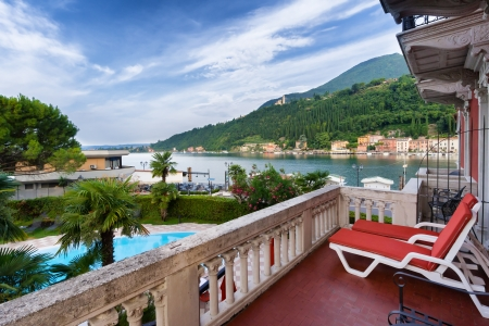 maderno: Lake Garda from a terrace in Toscolano Maderno, Italy Editorial