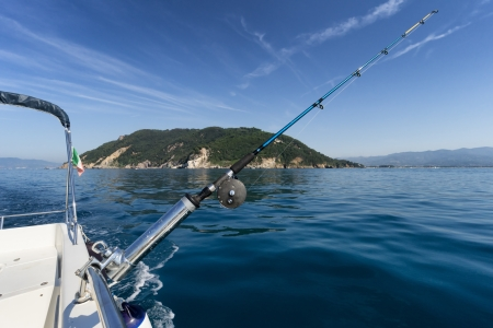 blue marlin: fishing rod from the boat in front of island