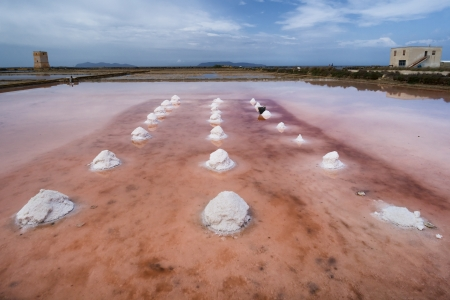 pink salt pans in Trapani, Sicily. Italy photo