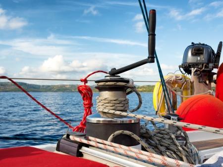 cruising, winch on a sailing boat  Archivio Fotografico