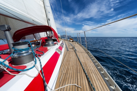 yacht sailing in the open sea Stock Photo