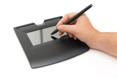 digital signature on sign pad photo