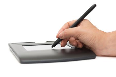 digitale handtekening op teken pad