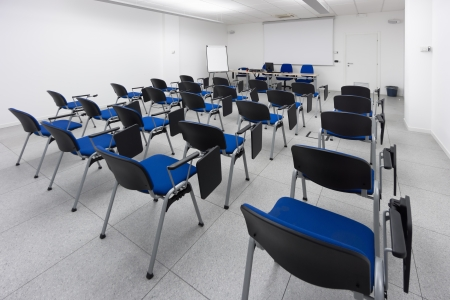 white and bright modern learning, conference or meeting room