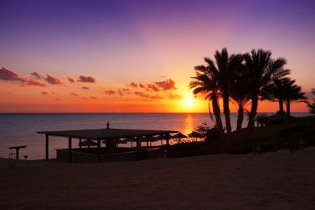 alam: Sunset over the Red sea, Marsa Alam, Egypt Stock Photo