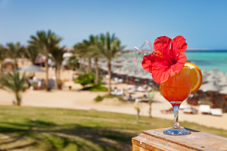 alam: hibiscus and cocktail against tropical sea resort beach Stock Photo