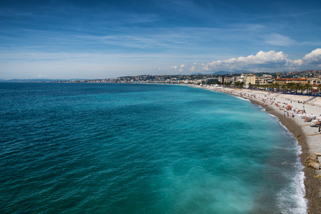 the Azure coast beach and sea in Nice, France photo