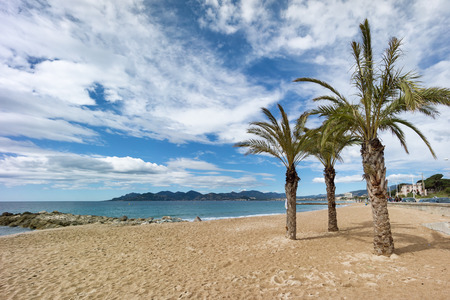 the Azure coast beach and sea in Cannes, France photo