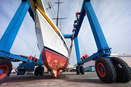 hauling:  hauling out a sailing boat in boatyard Stock Photo