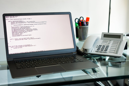 source code on a laptop pc photo