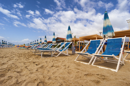 massa: Umbrellas and chairs in Versilia, Italy