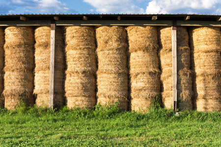 hay bale stacked in barn photo