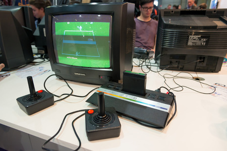 MILAN, ITALY - OCTOBER 26: classic and vintage console at Games Week 2014, event dedicated to video games and electronic entertainment on OCTOBER 26, 2014 in Milan.