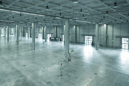 empty warehouse: empty large modern warehouse, industrial area or factory
