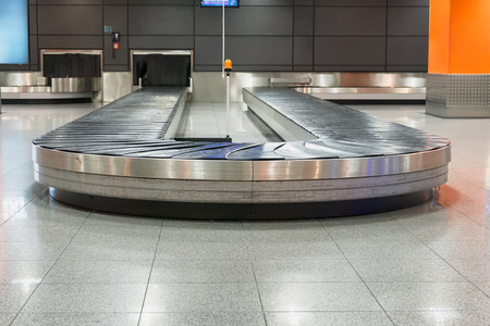 area: Empty baggage claim area in airport Stock Photo