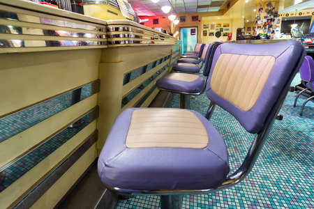 american 1950 style diner bar chairs Stock Photo