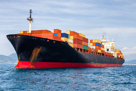 ships at sea: container ship Stock Photo