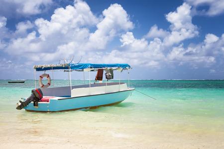 charter: sub charter boat on the sea in mautitius tropical island