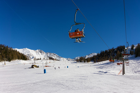 pila: ski slope and chair lift in Pila, Aosta, Italy Stock Photo