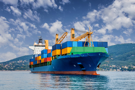 container port: merchant container ship