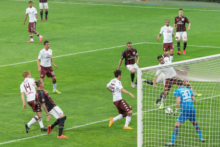 football pitch: MILAN ITALY MAY 24 2015: Football players in action during the match AC Milan vs Torino FC at the San Siro stadium in Milan Italy.