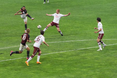 match: MILAN, ITALY - MAY 24, 2015: football players in action during the match AC Milan vs Torino FC, at the san siro stadium in Milan, Italy.