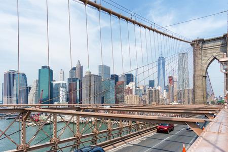 building structures: Manhattan Skyline through Brooklyn Bridge, New York City