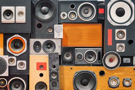 loud speaker: wall of retro vintage style Music sound speakers