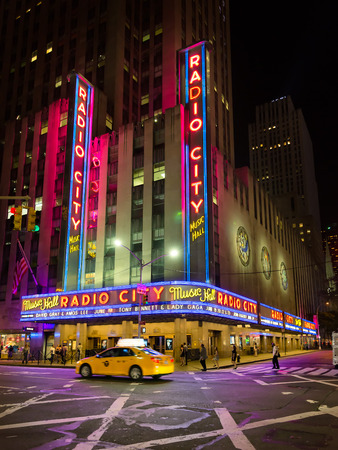decades: NEW YORK CITY - JUNE 14, 2015: Radio City Music Hall, a popular landmark in Manhattan located in Rockefeller Center, has hosted the most popular entertainers and artists of the last decades. Editorial