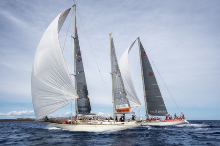 maxi: PORTO CERVO - 9 SEPTEMBER: Maxi Yacht Rolex Cup sail boat race, on September 9 2015 in Porto Cervo, Italy