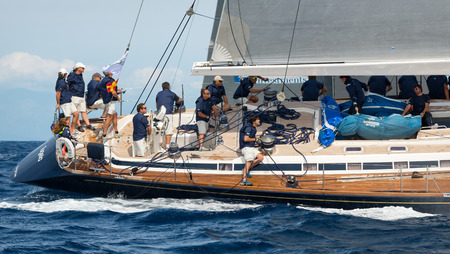 maxi: Porto Cervo - SEPTEMBER 8: Maxi Yacht Rolex Cup sailing boat race, on September 8 2015 in Porto Cervo, Italy Editorial