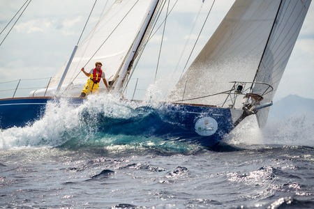 sailing crew: PORTO CERVO - 8 SEPTEMBER: Maxi Yacht Rolex Cup sail boat race. The event is one of international sailing's most important and revered competitions. on September 8 2015 in Porto Cervo, Italy