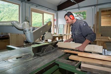 joinery: worker in joinery Stock Photo