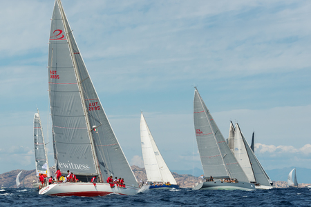 maxi: PORTO CERVO - 8 SEPTEMBER: Maxi Yacht Rolex Cup sail boat race. The event is one of international sailings most important and revered competitions. on September 8 2015 in Porto Cervo, Italy Editorial