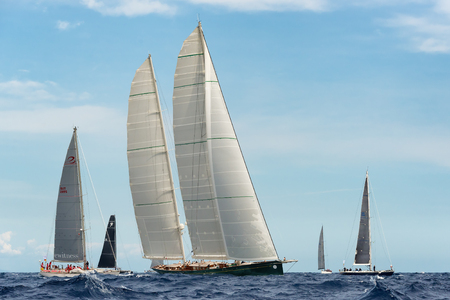 maxi: PORTO CERVO - 9 SEPTEMBER: Maxi Yacht Rolex Cup sail boat race. The event is one of international sailings most important and revered competitions. on September 9 2015 in Porto Cervo, Italy Editorial