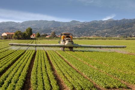 agriculture, tractor spraying pesticides on field farm Standard-Bild