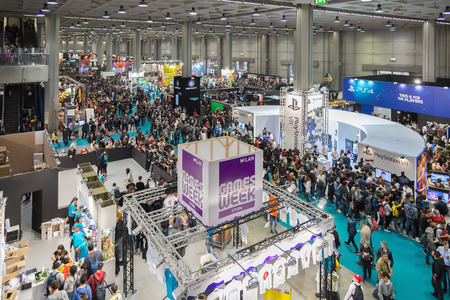 entertainment event: MILAN, ITALY - OCTOBER 25: Crowd of people at Games Week 2015, event dedicated to video games and electronic entertainment on OCTOBER 25, 2015 in Milan. Editorial