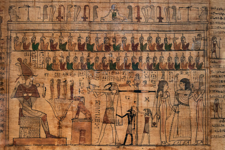 hieroglyphs: antique hieroglyphs on Egyptian papyrus