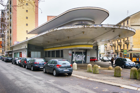 custom car: MILAN, ITALY - MARCH 6, 2016: Garage Italia Customs, the new company of Lapo Elkann, will soon move to an historic setting for the automotive industry: the Agip petrol station of Piazzale Accursio