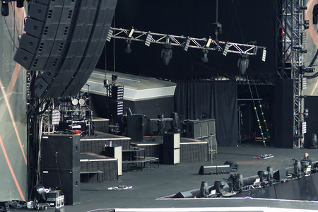 large rock: large empty rock concert stage