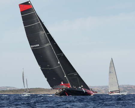 maxi: PORTO CERVO - 8 SEPTEMBER: Comanche at Maxi Yacht Rolex Cup sail boat race, this sailboat is build to be the fastest monohull ever built, on September 8 2015 in Porto Cervo, Italy